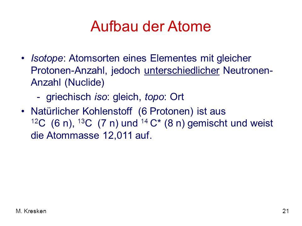 Aufbau der Atome Isotope: Atomsorten eines Elementes mit gleicher Protonen-Anzahl, jedoch unterschiedlicher Neutronen-Anzahl (Nuclide)