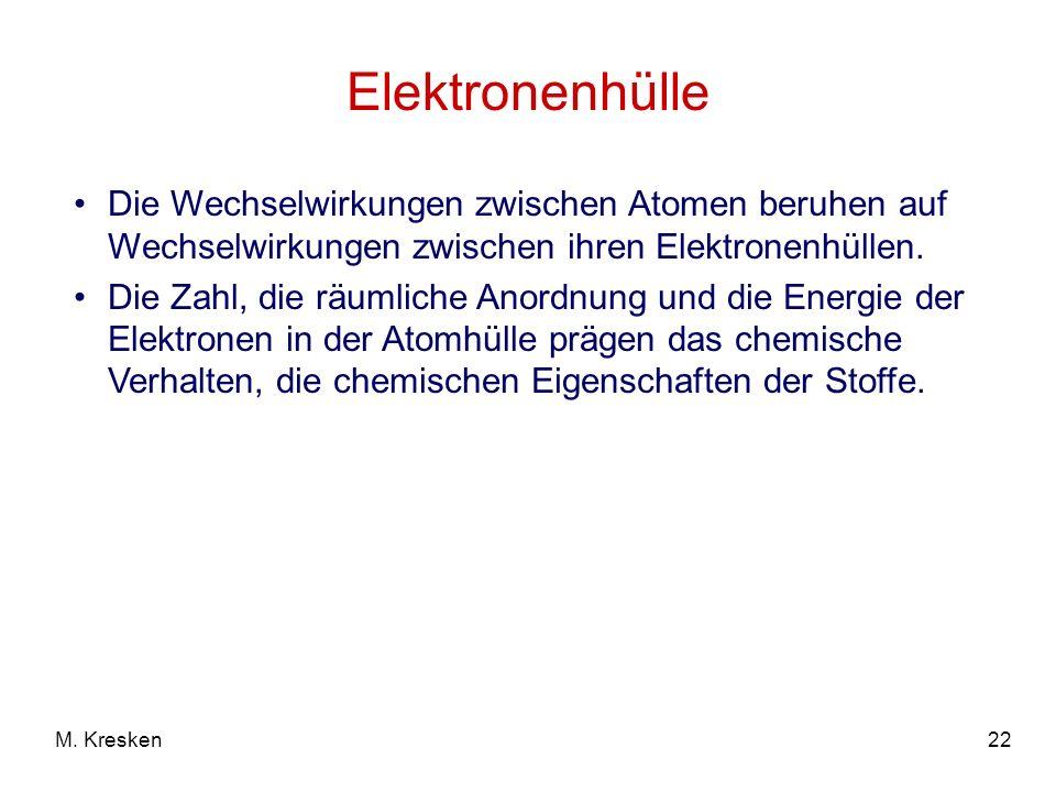 Elektronenhülle Die Wechselwirkungen zwischen Atomen beruhen auf Wechselwirkungen zwischen ihren Elektronenhüllen.