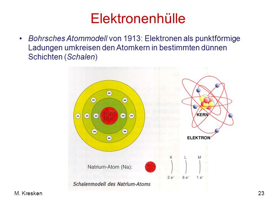 Elektronenhülle Bohrsches Atommodell von 1913: Elektronen als punktförmige Ladungen umkreisen den Atomkern in bestimmten dünnen Schichten (Schalen)
