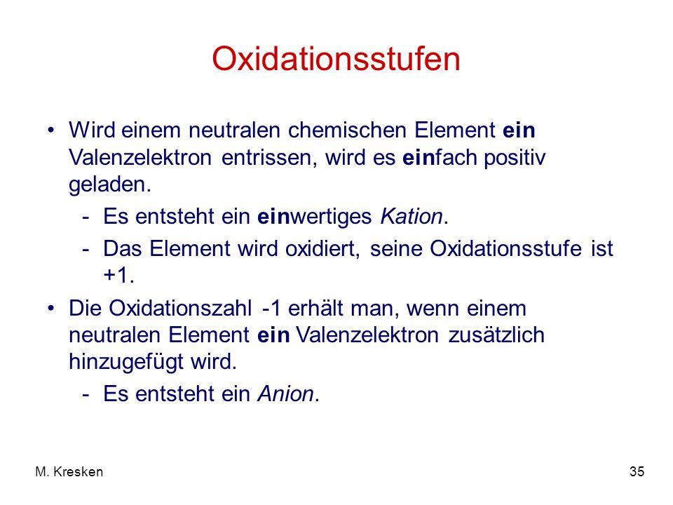 Oxidationsstufen Wird einem neutralen chemischen Element ein Valenzelektron entrissen, wird es einfach positiv geladen.