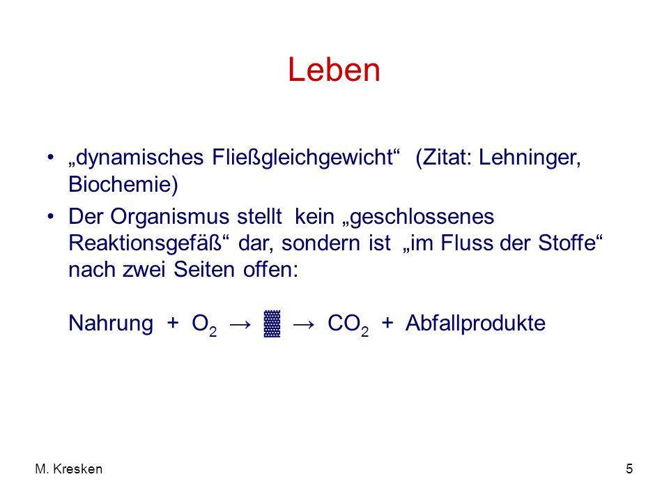 """Leben """"dynamisches Fließgleichgewicht (Zitat: Lehninger, Biochemie)"""