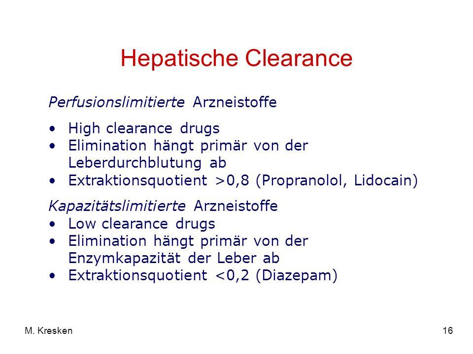 Hepatische Clearance Perfusionslimitierte Arzneistoffe