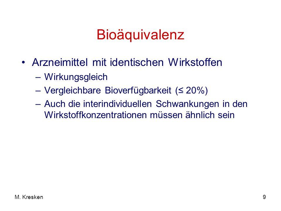 Bioäquivalenz Arzneimittel mit identischen Wirkstoffen Wirkungsgleich