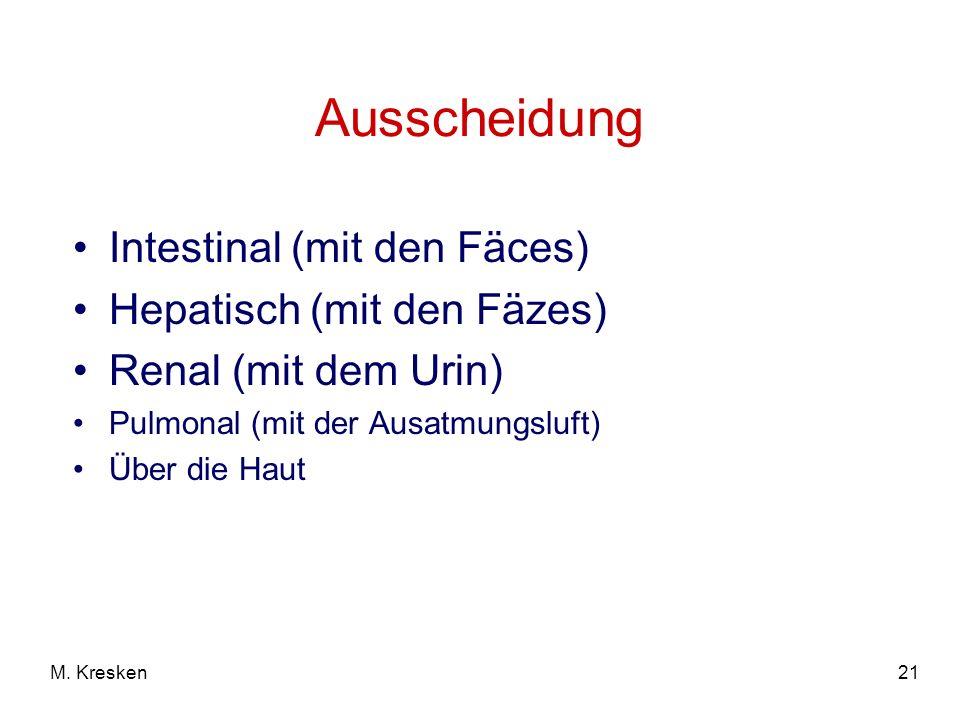 Ausscheidung Intestinal (mit den Fäces) Hepatisch (mit den Fäzes)
