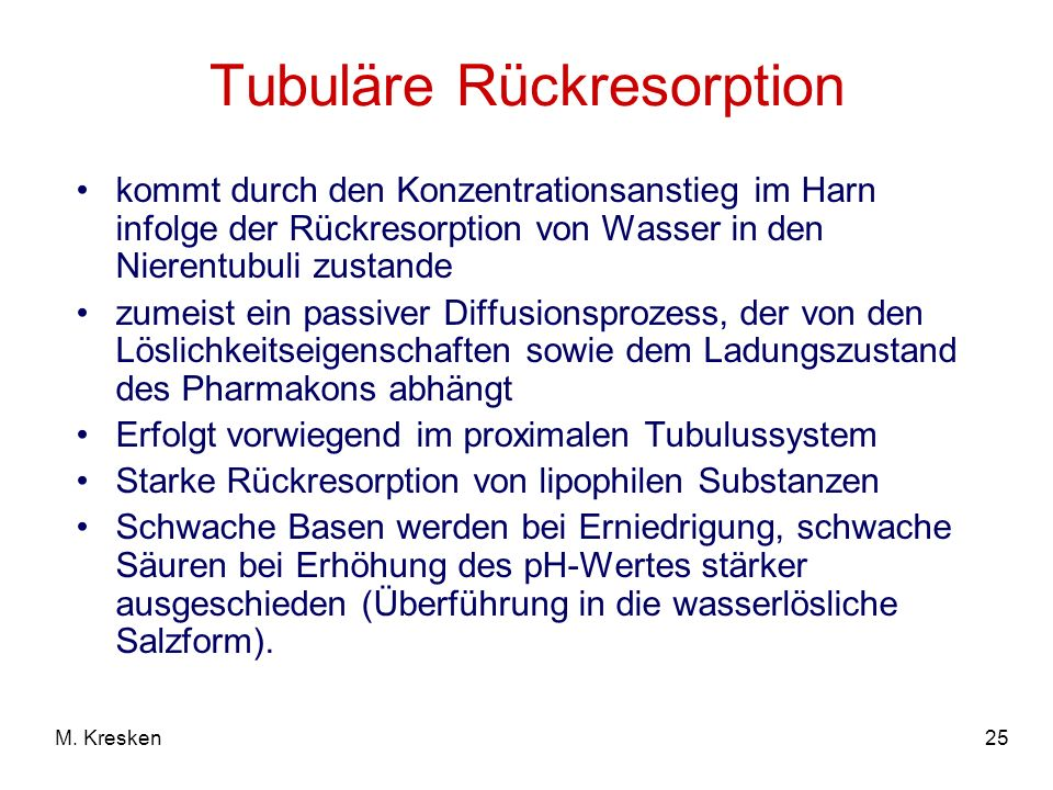 Tubuläre Rückresorption