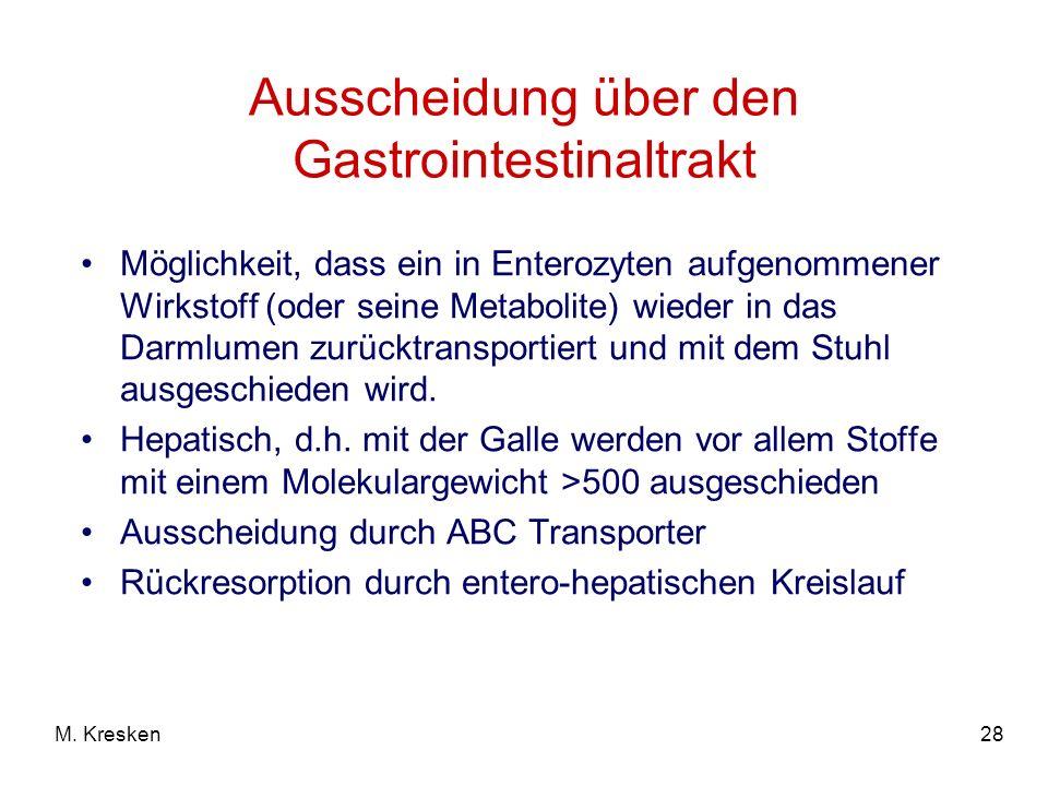 Ausscheidung über den Gastrointestinaltrakt