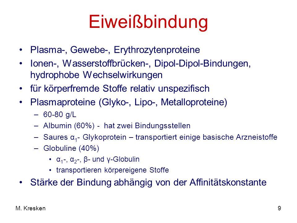 Eiweißbindung Plasma-, Gewebe-, Erythrozytenproteine
