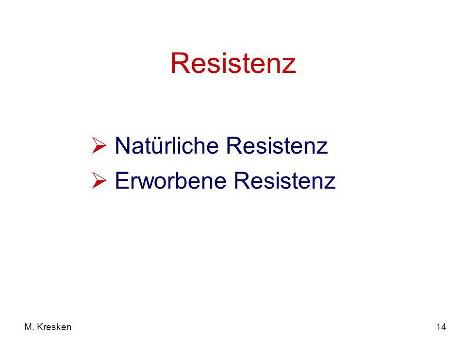 Resistenz Natürliche Resistenz Erworbene Resistenz M. Kresken