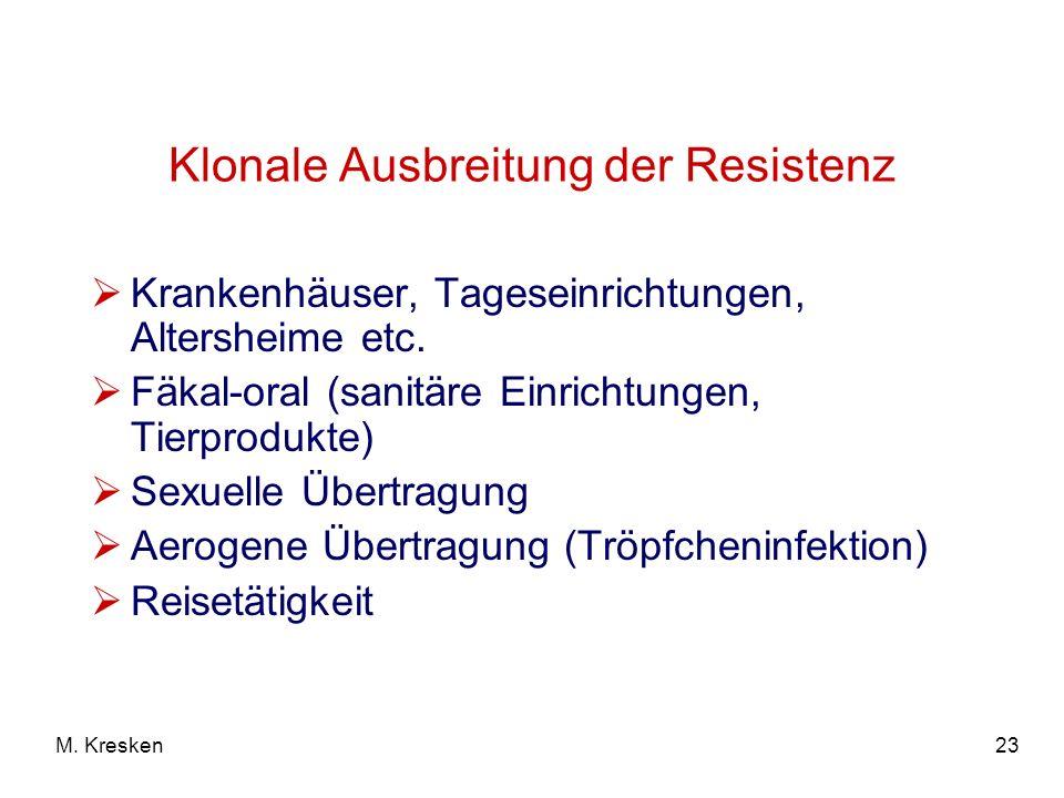 Klonale Ausbreitung der Resistenz