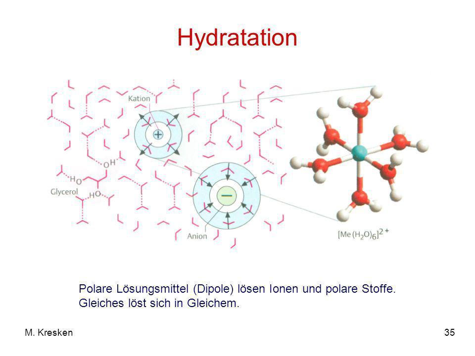 HydratationPolare Lösungsmittel (Dipole) lösen Ionen und polare Stoffe. Gleiches löst sich in Gleichem.