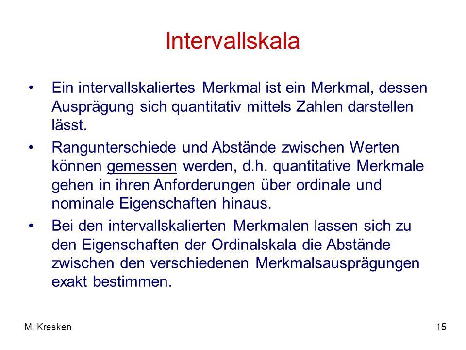Intervallskala Ein intervallskaliertes Merkmal ist ein Merkmal, dessen Ausprägung sich quantitativ mittels Zahlen darstellen lässt.