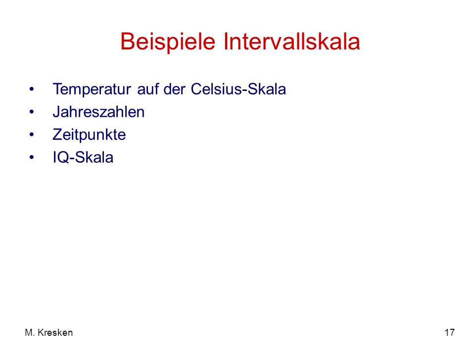 Beispiele Intervallskala