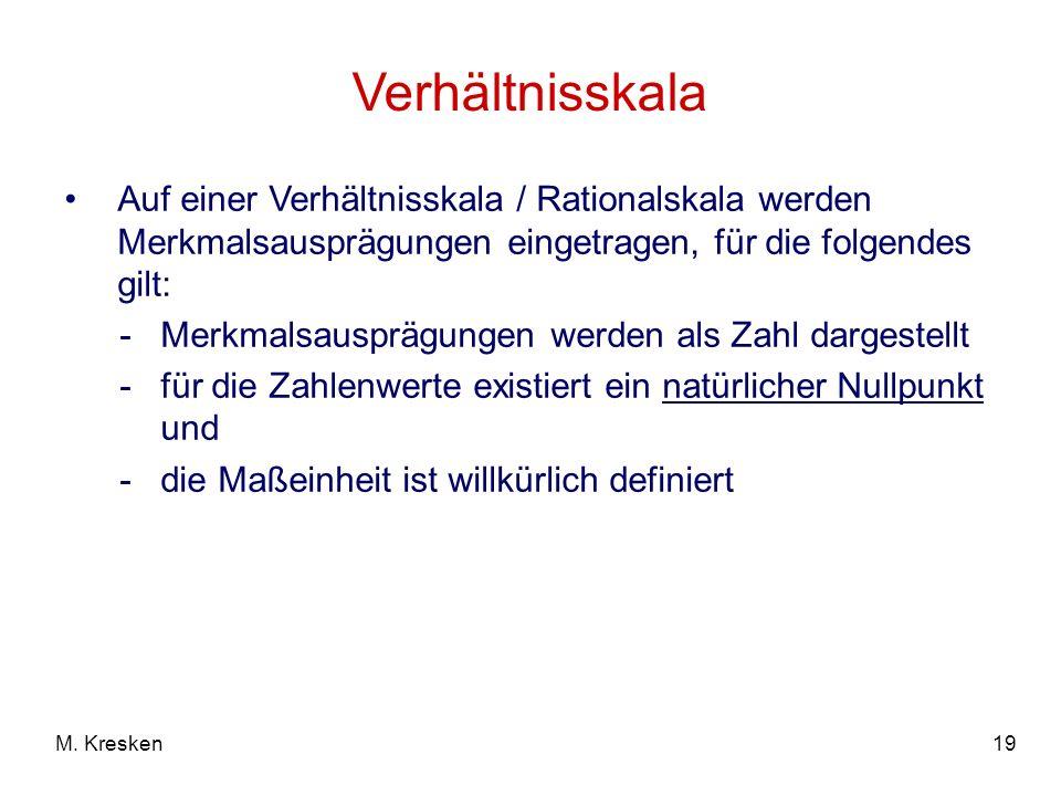 Verhältnisskala Auf einer Verhältnisskala / Rationalskala werden Merkmalsausprägungen eingetragen, für die folgendes gilt: