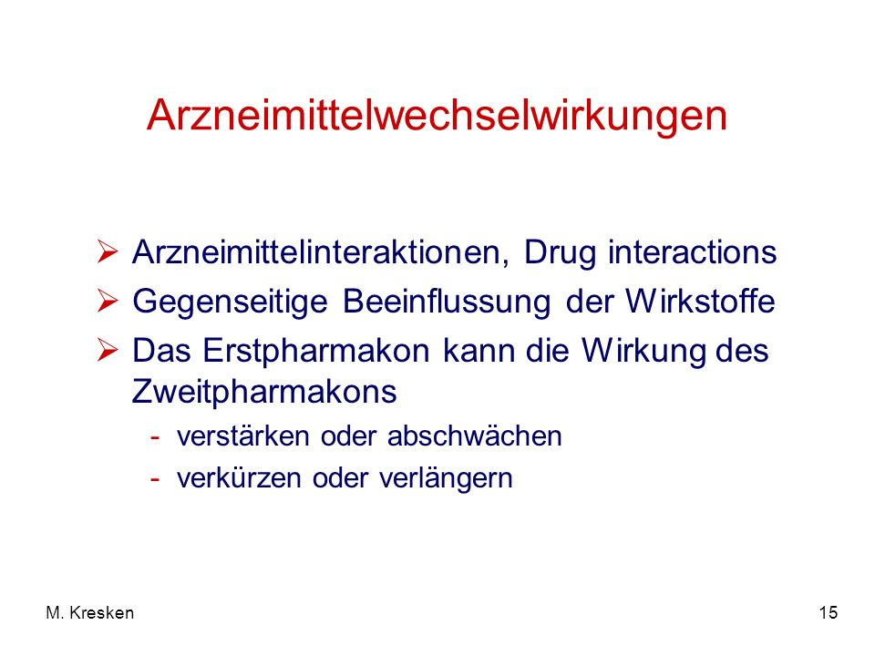Arzneimittelwechselwirkungen