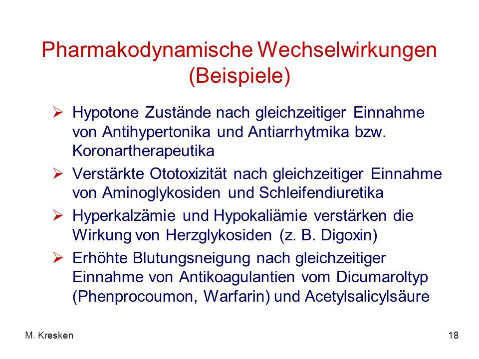 Pharmakodynamische Wechselwirkungen (Beispiele)