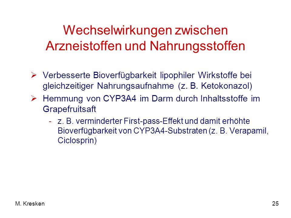 Wechselwirkungen zwischen Arzneistoffen und Nahrungsstoffen