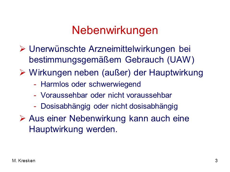 Nebenwirkungen Unerwünschte Arzneimittelwirkungen bei bestimmungsgemäßem Gebrauch (UAW) Wirkungen neben (außer) der Hauptwirkung.