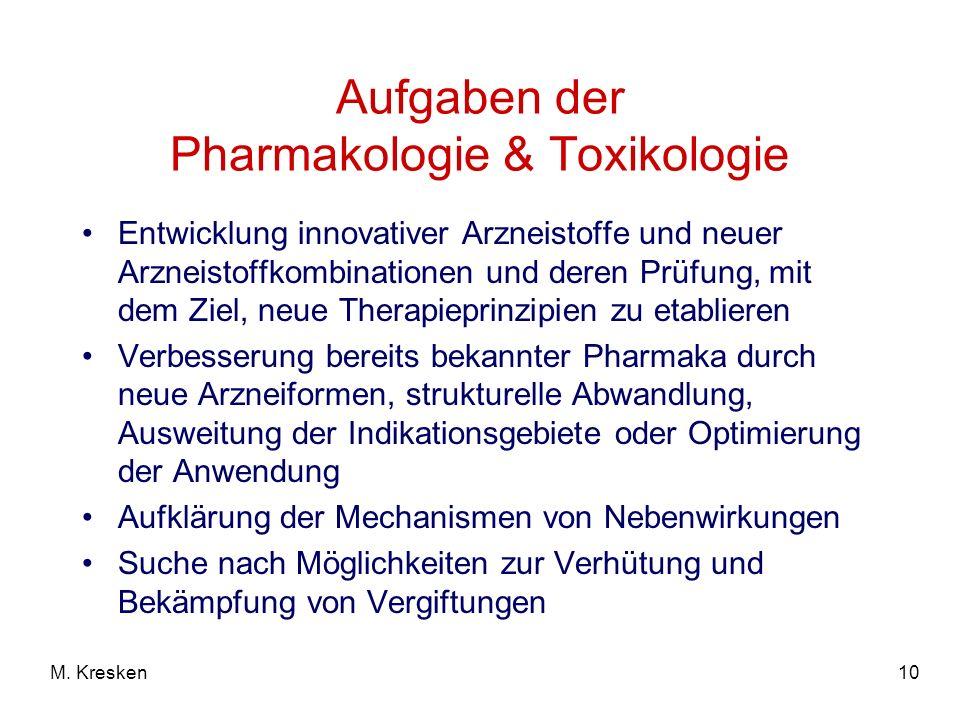 Aufgaben der Pharmakologie & Toxikologie