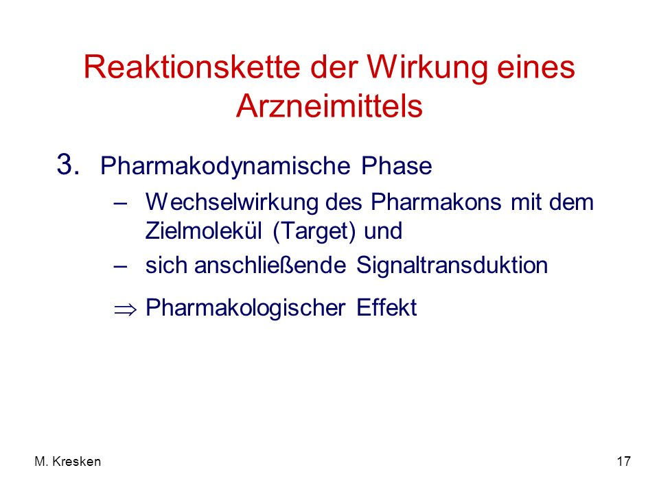 Reaktionskette der Wirkung eines Arzneimittels
