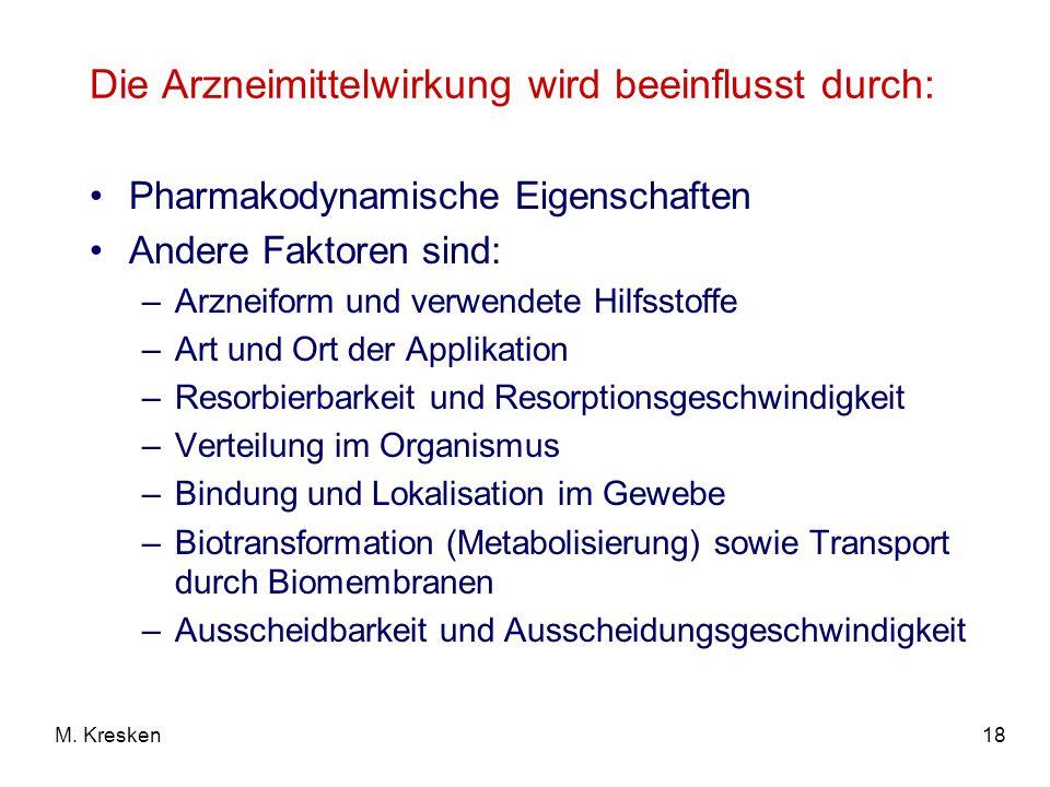 Die Arzneimittelwirkung wird beeinflusst durch: