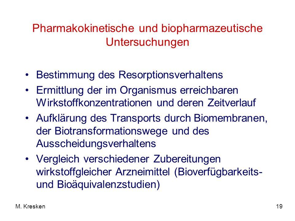 Pharmakokinetische und biopharmazeutische Untersuchungen