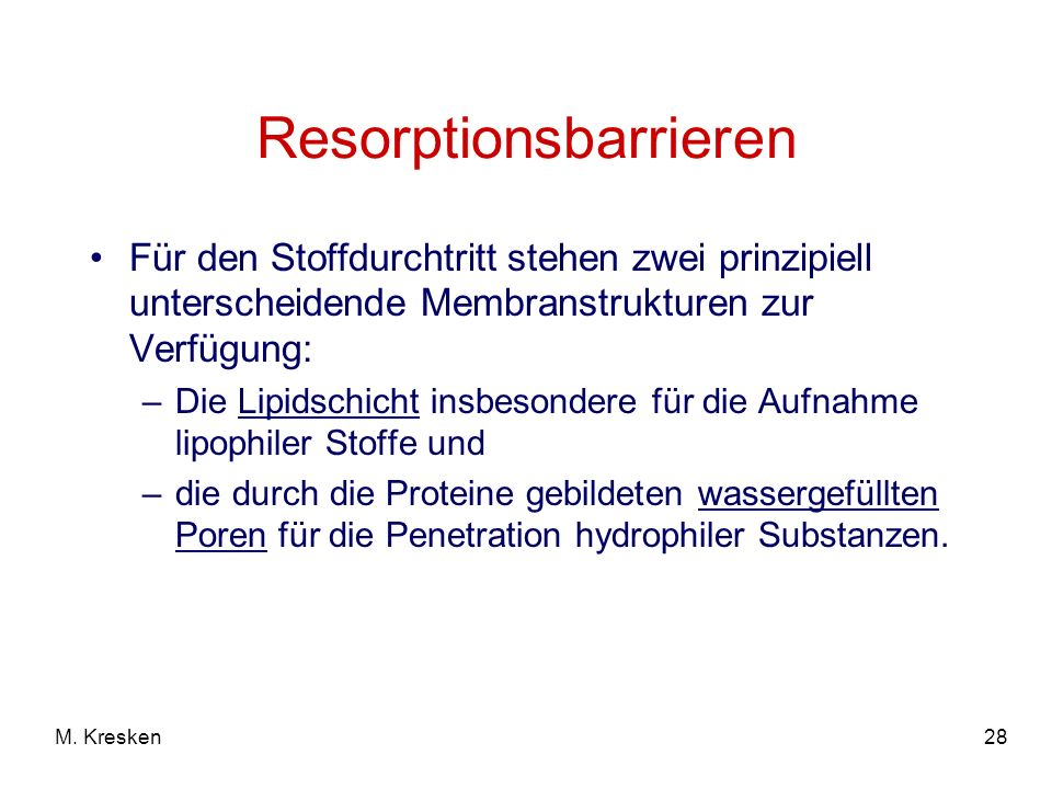 Resorptionsbarrieren