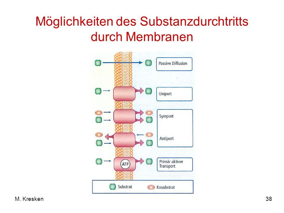 Möglichkeiten des Substanzdurchtritts durch Membranen