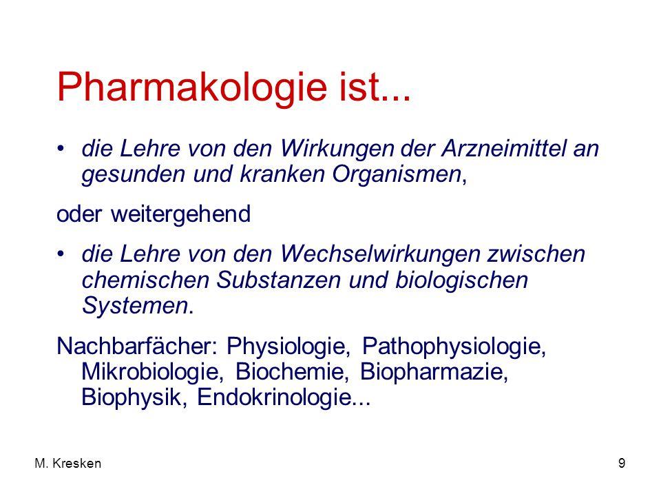 Pharmakologie ist... die Lehre von den Wirkungen der Arzneimittel an gesunden und kranken Organismen,