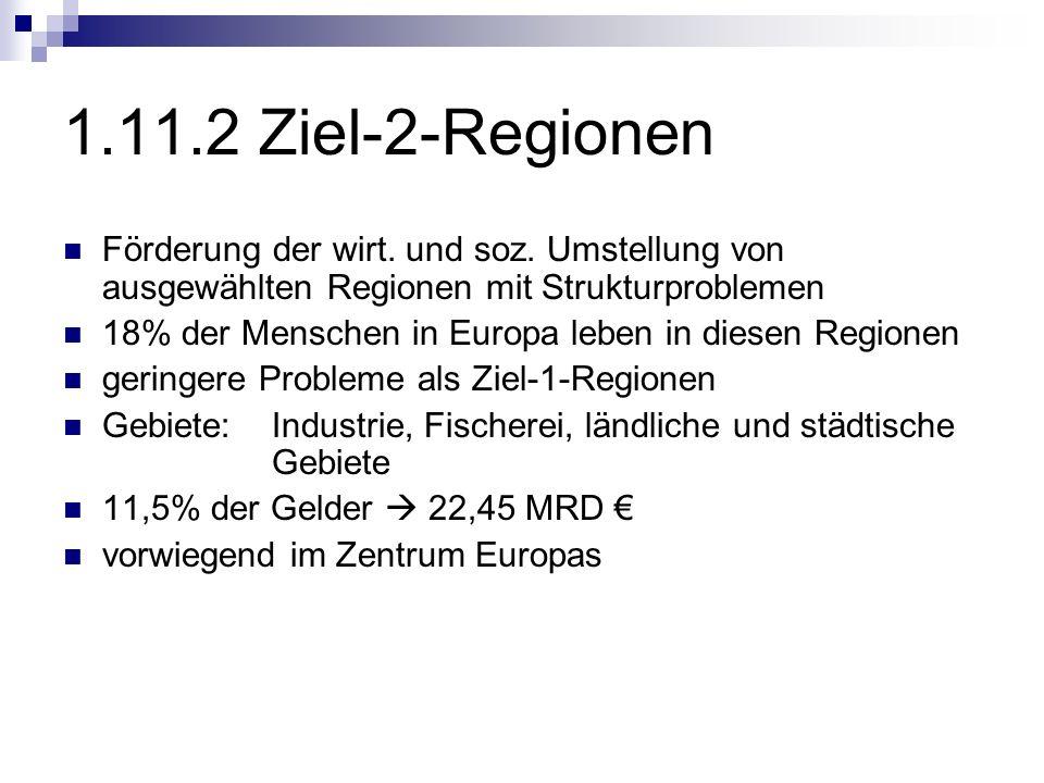 1.11.2 Ziel-2-Regionen Förderung der wirt. und soz. Umstellung von ausgewählten Regionen mit Strukturproblemen.