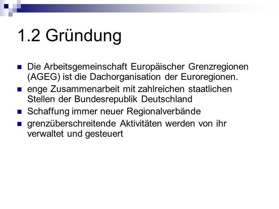1.2 Gründung Die Arbeitsgemeinschaft Europäischer Grenzregionen (AGEG) ist die Dachorganisation der Euroregionen.
