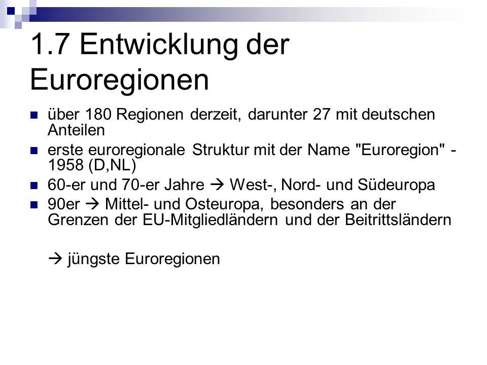 1.7 Entwicklung der Euroregionen