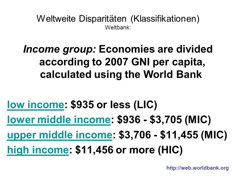 Weltweite Disparitäten (Klassifikationen) Weltbank: