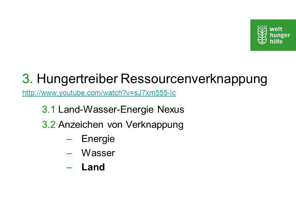 3. Hungertreiber Ressourcenverknappung 3.1 Land-Wasser-Energie Nexus