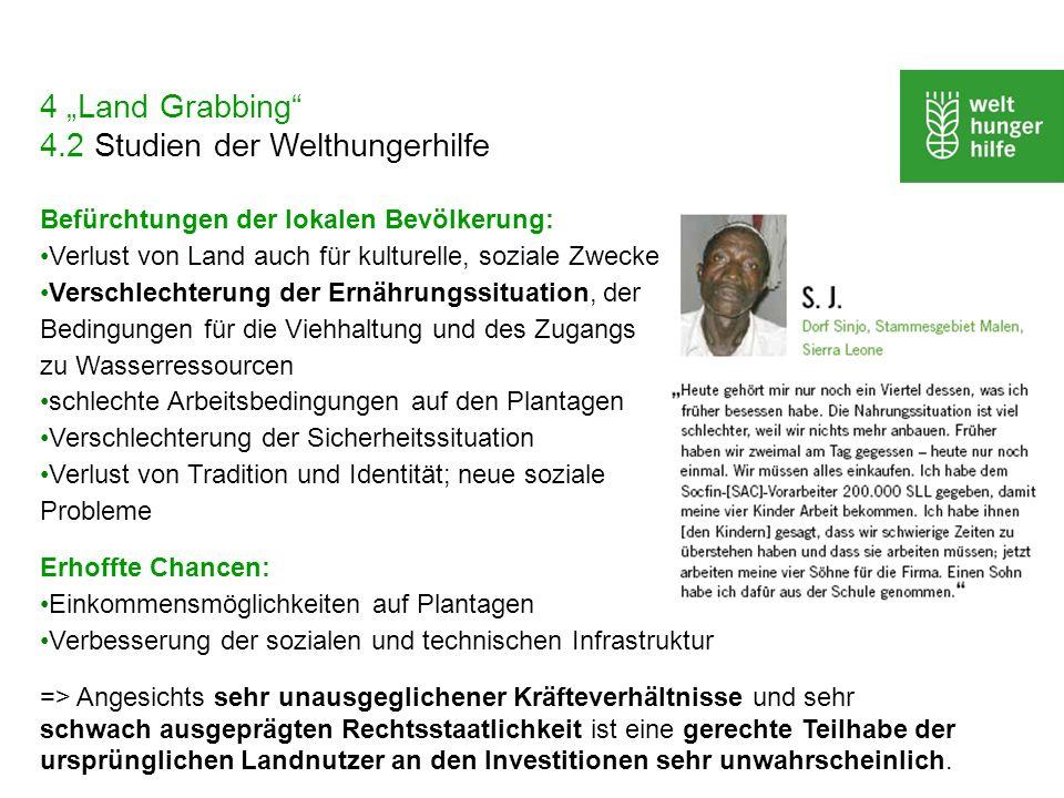 "4 ""Land Grabbing 4.2 Studien der Welthungerhilfe"