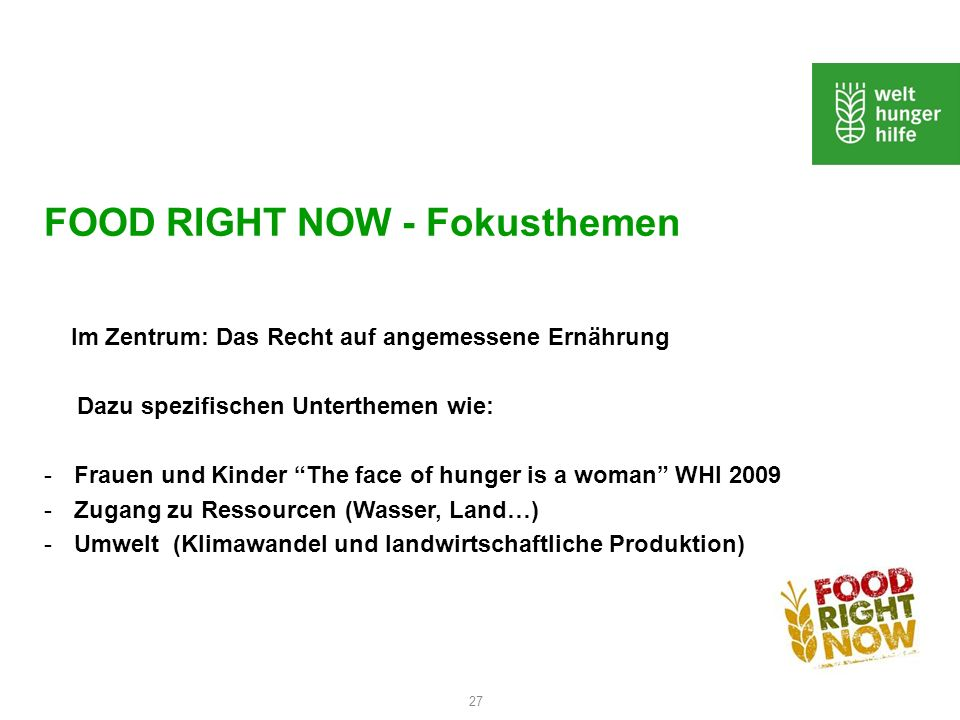 FOOD RIGHT NOW - Fokusthemen