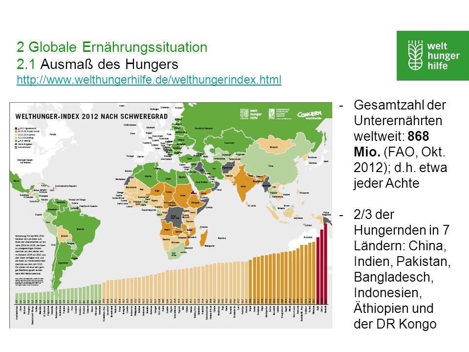2 Globale Ernährungssituation 2. 1 Ausmaß des Hungers http://www