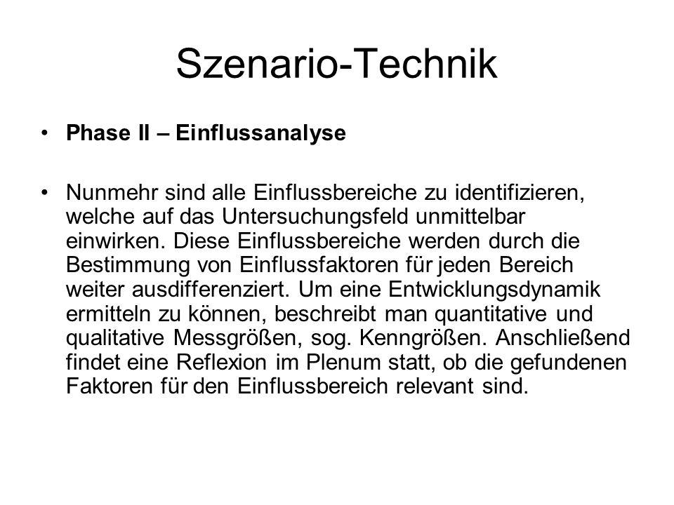 Szenario-Technik Phase II – Einflussanalyse