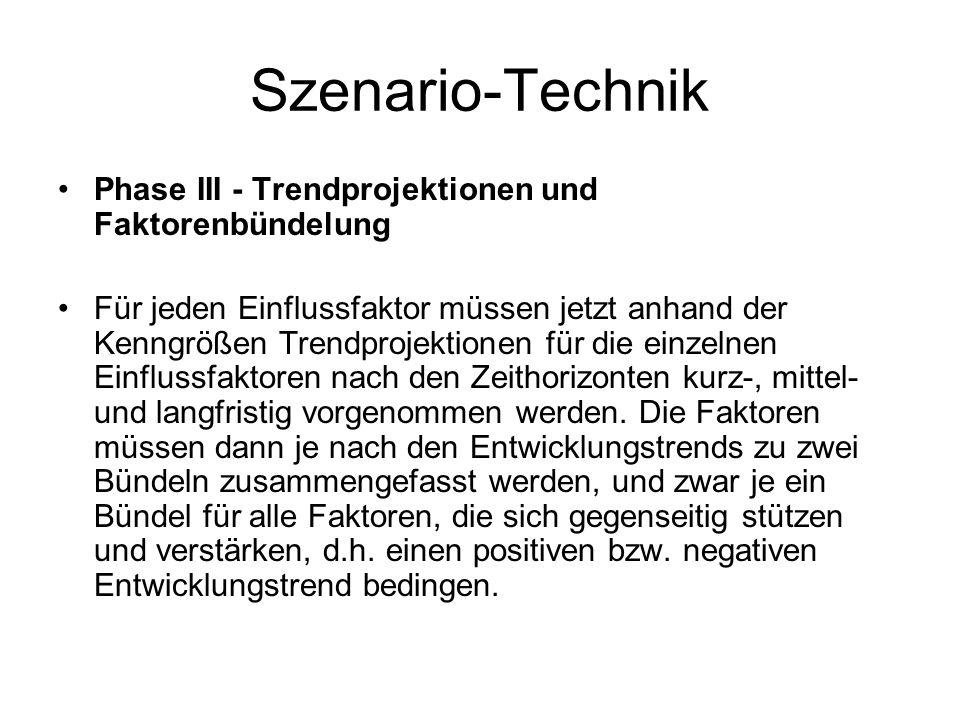 Szenario-Technik Phase III - Trendprojektionen und Faktorenbündelung