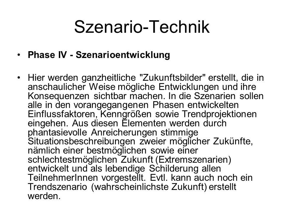 Szenario-Technik Phase IV - Szenarioentwicklung