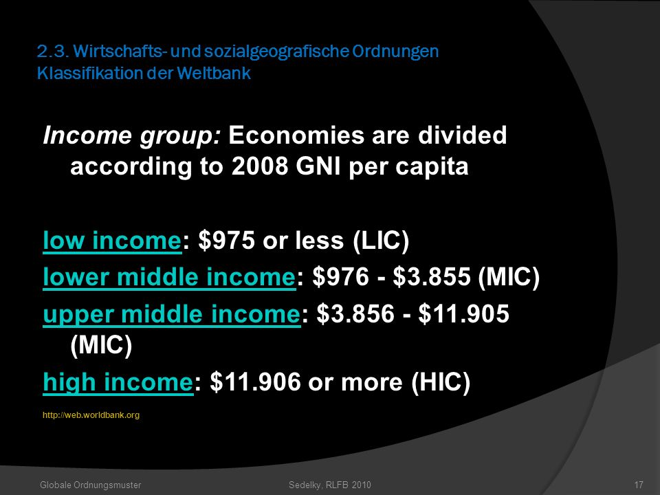 Income group: Economies are divided according to 2008 GNI per capita