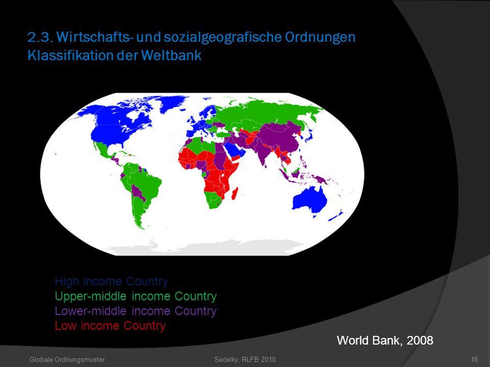2.3. Wirtschafts- und sozialgeografische Ordnungen Klassifikation der Weltbank