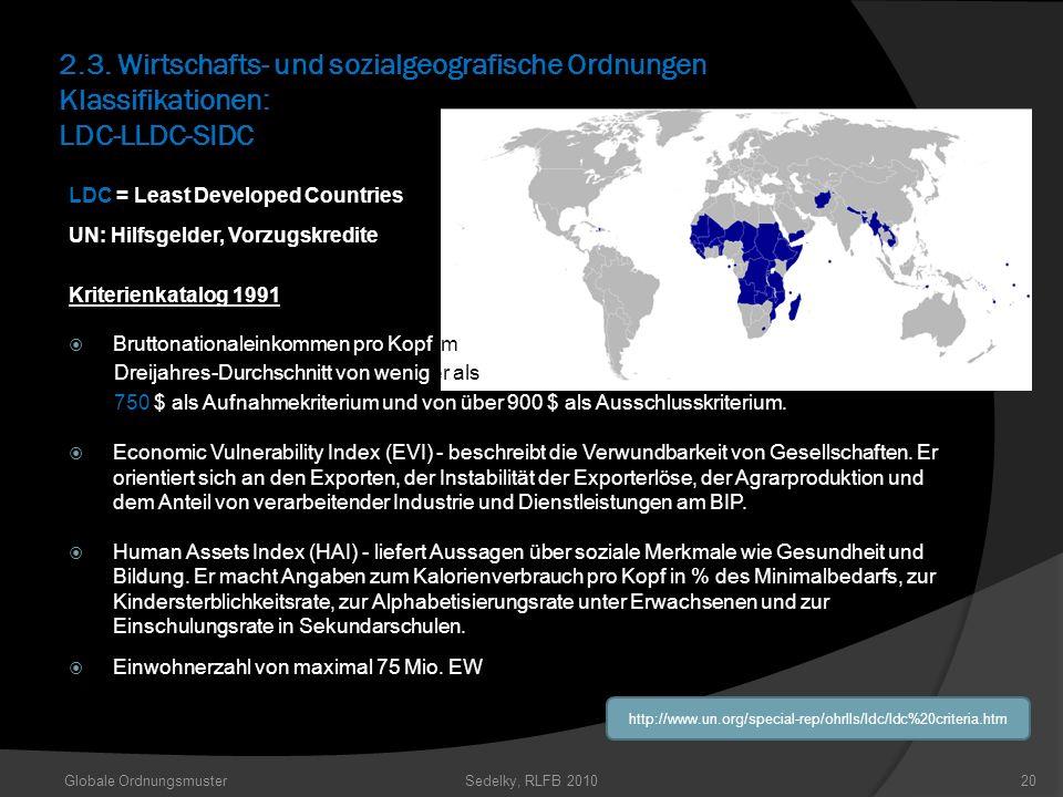 2.3. Wirtschafts- und sozialgeografische Ordnungen Klassifikationen: LDC-LLDC-SIDC