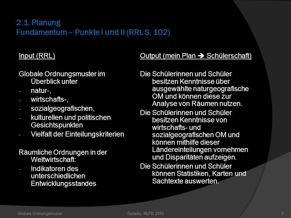 2.1. Planung Fundamentum – Punkte I und II (RRL S. 102)