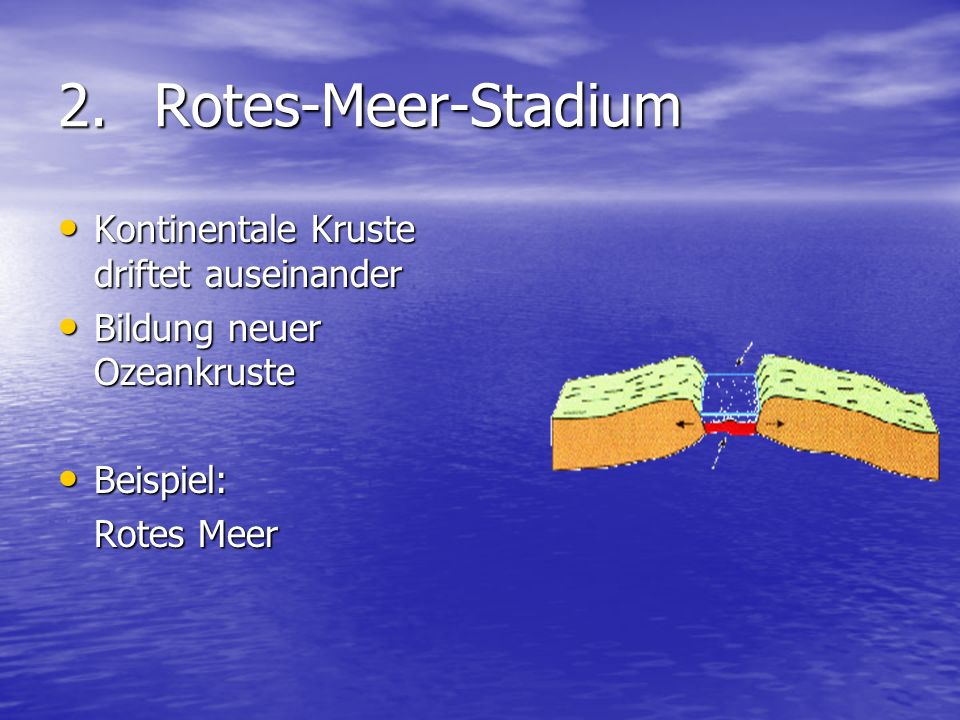 2. Rotes-Meer-Stadium Kontinentale Kruste driftet auseinander