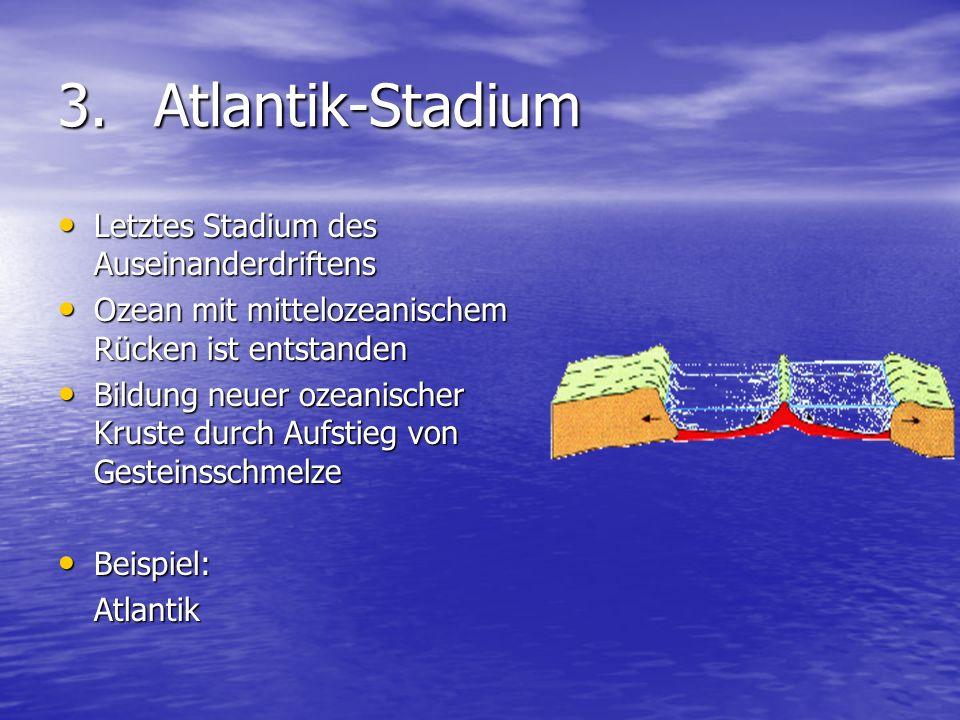 3. Atlantik-Stadium Letztes Stadium des Auseinanderdriftens
