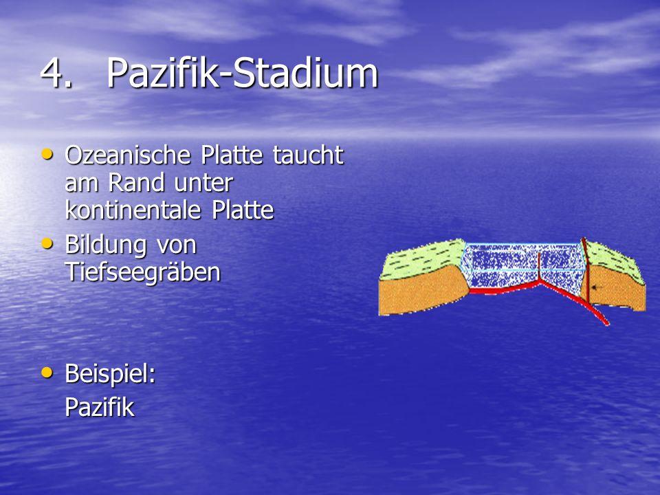 4. Pazifik-Stadium Ozeanische Platte taucht am Rand unter kontinentale Platte. Bildung von Tiefseegräben.