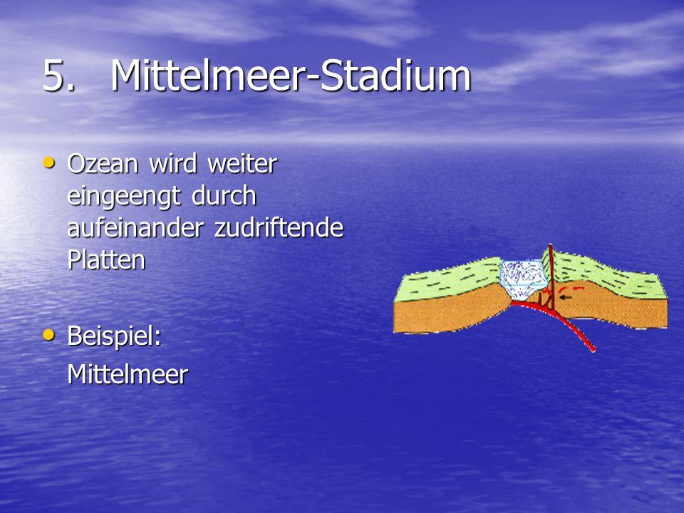 5. Mittelmeer-Stadium Ozean wird weiter eingeengt durch aufeinander zudriftende Platten. Beispiel: