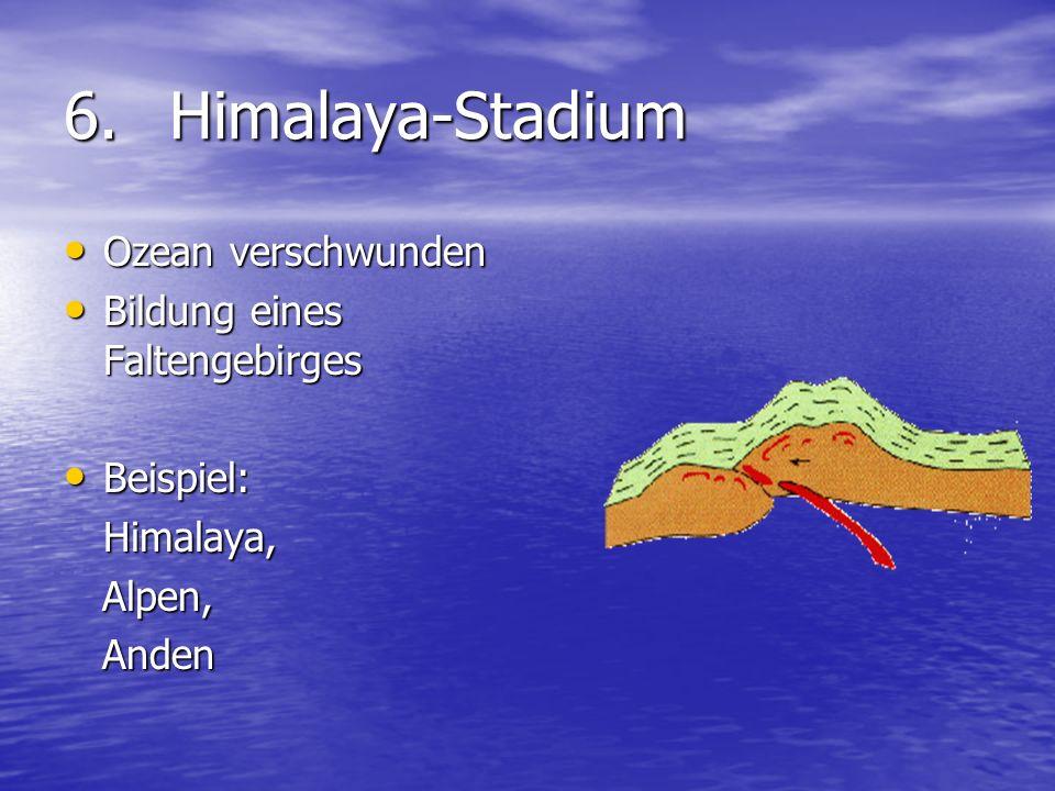 6. Himalaya-Stadium Ozean verschwunden Bildung eines Faltengebirges