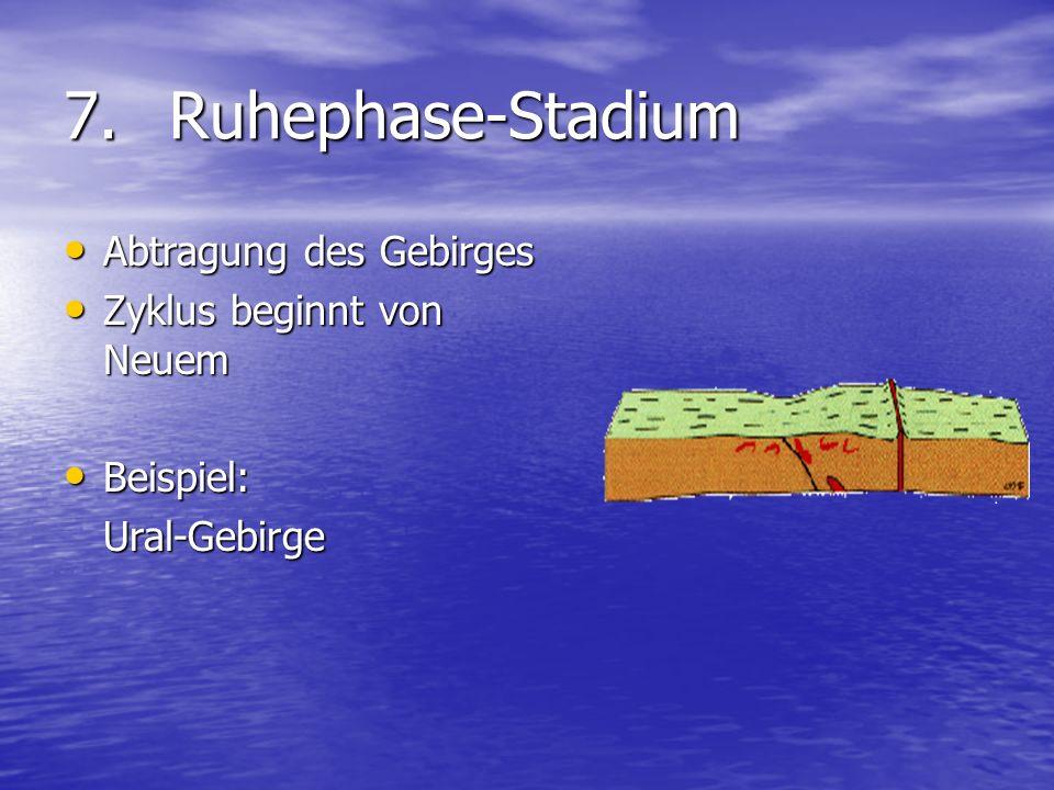 7. Ruhephase-Stadium Abtragung des Gebirges Zyklus beginnt von Neuem