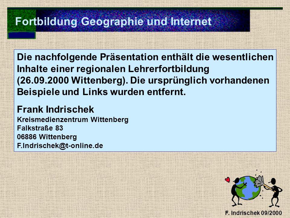 Fortbildung Geographie und Internet